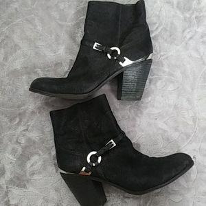 Black suede ankle boots sz 8 1/2